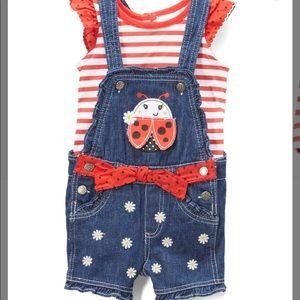 Red Stripe Tee & Denim Ladybug Shortalls Set